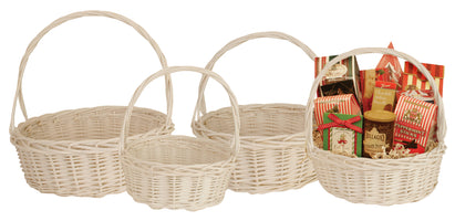 Set of 4 White Willow Baskets-Wald Imports