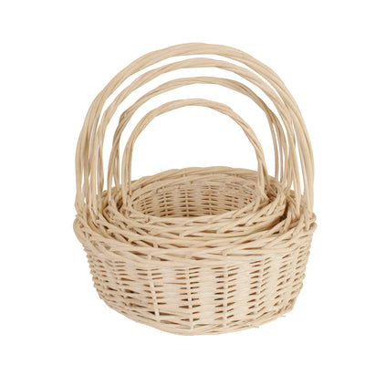 Set of 4 Whitewash Willow Baskets-Wald Imports