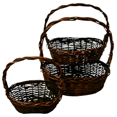 Set of 3 Rectangular Willow Baskets-Wald Imports