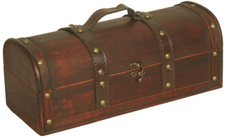 Suitcase Wood/Faux Leather Trunk-Wald Imports