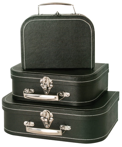 Set of 3 Black Suitcases-Wald Imports