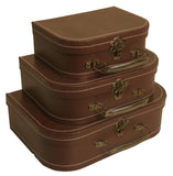 Set of 3 Brown Suitcases-Wald Imports
