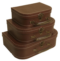 Suitcase Set of 3 Brown Paperboard-Wald Imports
