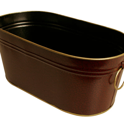 "13"" Dark Burgundy Oval Metal Planter-Wald Imports"