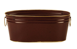 "9"" Dark Burgundy Oval Metal Planter-Wald Imports"