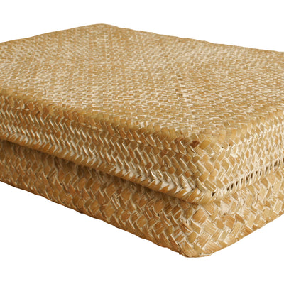 "12"" Whitewash Seagrass-Reed Basket W/Lid-Wald Imports"
