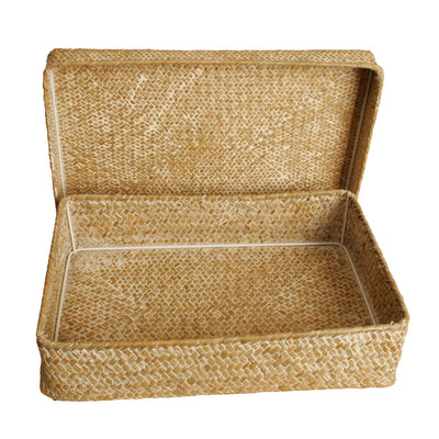 "14.5"" Whitewash Seagrass-Reed Basket W/Lid-Wald Imports"