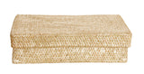 "12"" Whitewash Seagrass-Reed Basket W/Lid"
