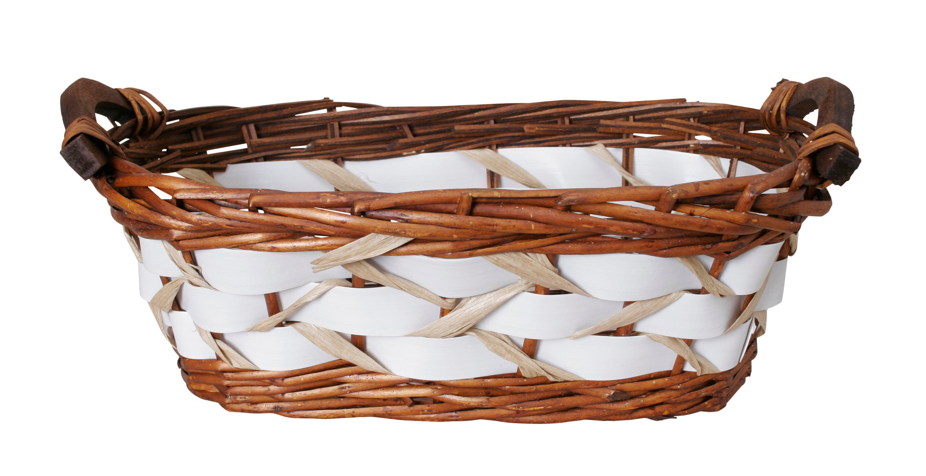 "15"" Willow Basket w/White Woven Bands-Wald Imports"