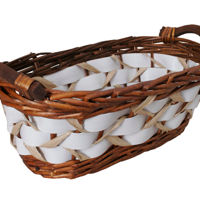 "15"" Willow Basket w/White Woven Bands"
