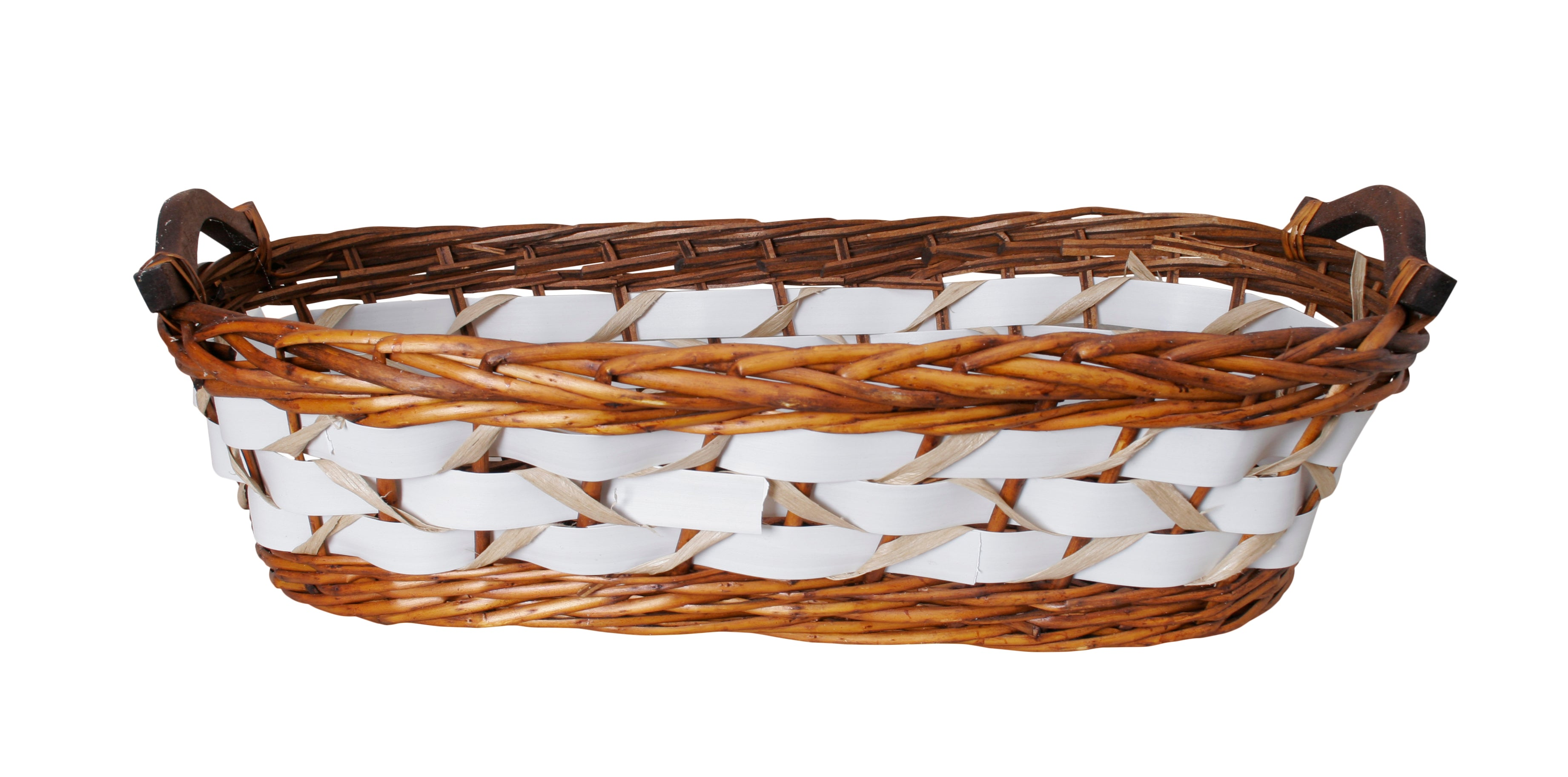 "22"" Willow Basket w/White Woven Bands-Wald Imports"