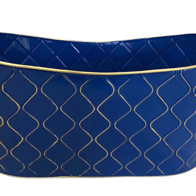 "Double 4"" Royal Blue Metal Planter-Wald Imports"