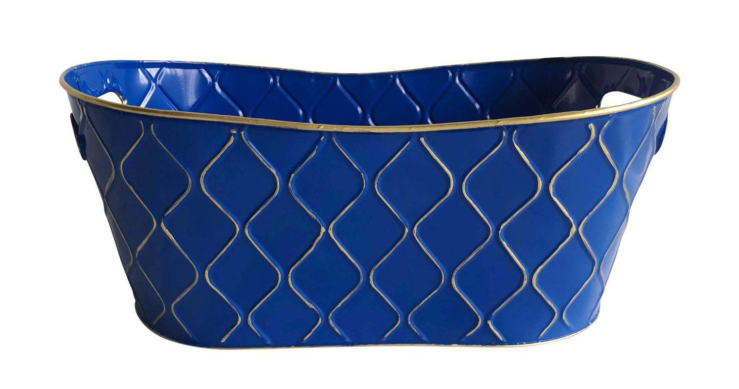 "Double 6"" Royal Blue Metal Planter-Wald Imports"