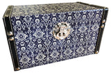 Navy & Cream Trellis Pattern Decorative Storage Box