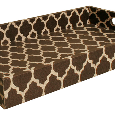 Black & White Trellis Decorative Tray-Wald Imports