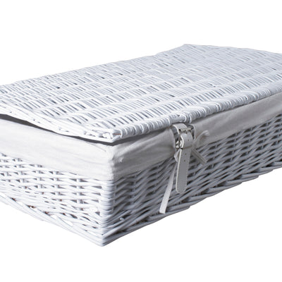 White Under Bed Willow Storage Container with Lid