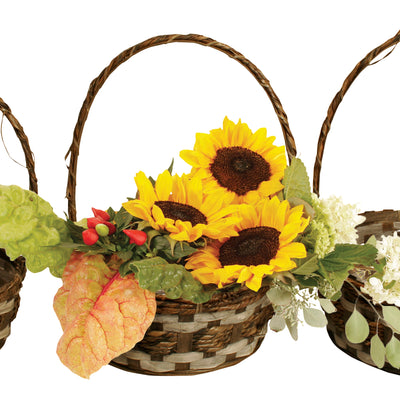 Set of 3 Baskets Bamboo/Raffia Bsk.-Wald Imports