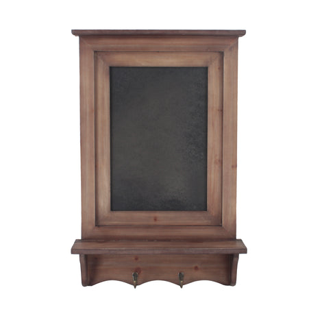 Wooden Wall Rack with Chalkboard & Hooks-Wald Imports