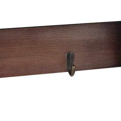 HOME DÉCOR Wooden Wall Mounted Shelf with Hooks-Wald Imports
