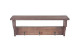 Wooden Wall Mounted Shelf with Hooks-Wald Imports