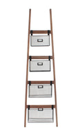 HOME DÉCOR Wood Ladder Shelf w/ Wire Baskets-Wald Imports