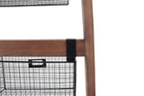 Wood Ladder Shelf w/ Wire Storage Baskets-Wald Imports