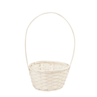 "6"" White Bamboo Basket With Handle-Wald Imports"