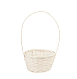 "8"" White Bamboo Basket With Handle-Wald Imports"