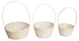 Set of 3 White Bamboo Baskets-Wald Imports