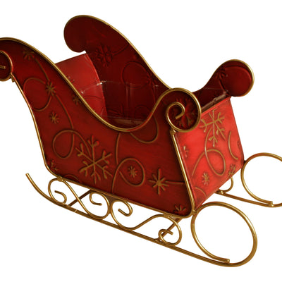 "Novelty 12"" SM RED METAL SLEIGH-Wald Imports"