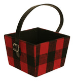 Red & Black Plaid Fabric Basket w/Handle-Wald Imports