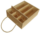 Triple Wine Box w/Lid & Rope Handle-Wald Imports