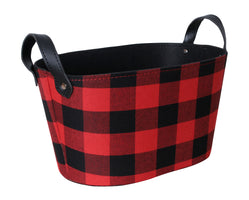 Red & Black Plaid Fabric Basket w/Handles-Wald Imports