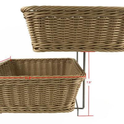 HOME DÉCOR Two Tier Storage Stand w/Washable Wicker Baskets-Wald Imports