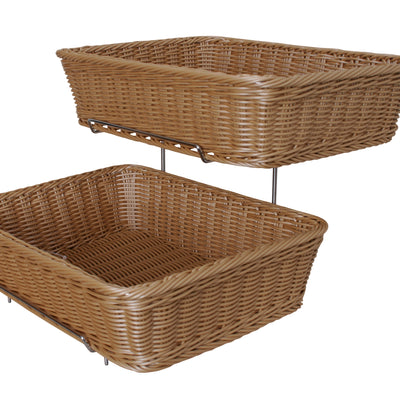 HOME DÉCOR Two Tier Storage Stand w/Washable Wicker Baskets