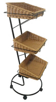 HOME DÉCOR Three Tier Storage Stand w/Washable Wicker Baskets-Wald Imports