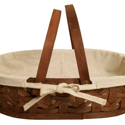 "17"" Stained Woodchip Basket w/Cloth Liner-Wald Imports"