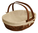 "12"" Stained Woodchip Basket w/Cloth Liner-Wald Imports"