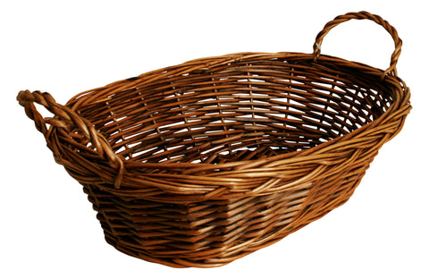 "14"" Oval Willow Basket w/ Dark Brown Finish"