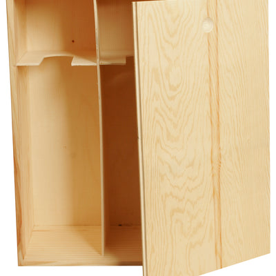 WINE BOX Wood Double w/ Sliding Lid-Wald Imports