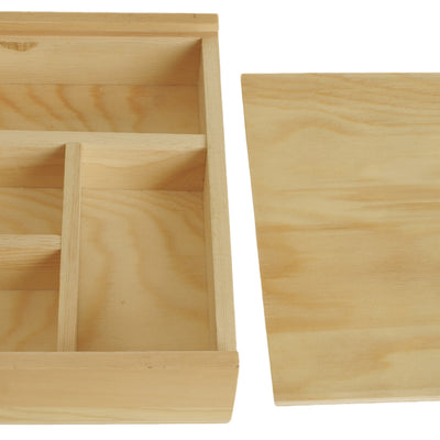 Large Wood Storage Tray w/Sliding Lid-Wald Imports