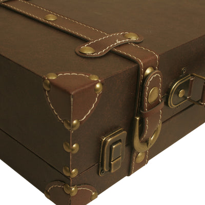 Brown Faux Leather Suitcase-Wald Imports