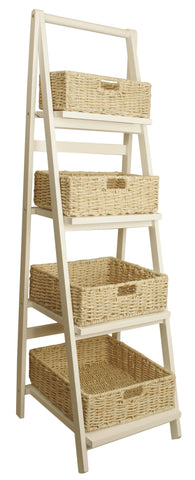Whitewash Wood Ladder w/Woven Seagrass Baskets-Wald Imports