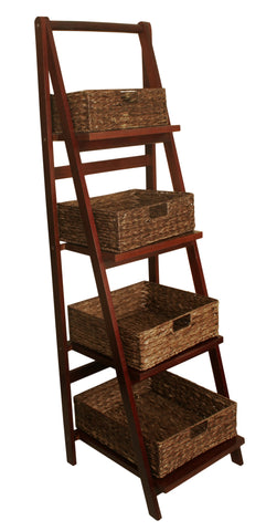 Brown Wood Ladder w/Woven Seagrass Baskets