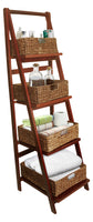 4 Tier Brown Wood Ladder Shelf w/Woven Baskets-Wald Imports