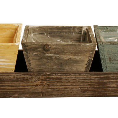 SET Wood Tray w/3 Wooden Planters-Wald Imports