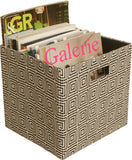 Cube Collapsible Tote, Black Concentric Squares-Wald Imports