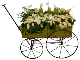 Green Distressed Wood Flower Cart-Wald Imports