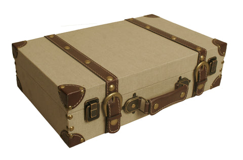 Light Tan Canvas Suitcase-Wald Imports