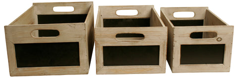 Set of 3 Distressed Boxes with Chalkboards-Wald Imports